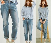 D62109T 2014 AUTUMN NEW STYLE KOREAN WOMAN LOOSE TORN JEANS