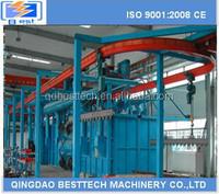 Overhead moving conveyor shot blasting machine
