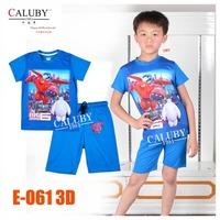 Baby Boys Blue Spider-Man Pajamas Set Kids Autumn -Summer Clothing Sets New 2015 Wholesale Children Cartoon Clothes E-066 3D
