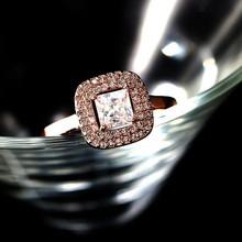 2015 fashion classic geometric ring / rose gold metal inlay zircon crystal ring