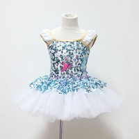 2015 New Design of Dance Costume Blue Sequin Dress for Girls Stage Costumes White Tulle Tutu Dress Jazz Dance Wear