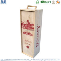 Natural Paulownia Wood Suitcase Wine Box with Silk Screen Printing Designs