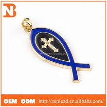 Custom top quality novelty gift Christian Cross blue Silver Fish