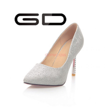 GD 2015 New style women's dull polishing sliver/golden colors high pump shoes for elegant office lady