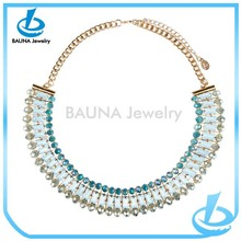 Wholesale gold thin link and fresh color rhinestone unique gold necklaces