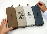 4Pcs Retro Students Stationery Pencil Pouch Bags Fabric Linen Paris Memories Pen Bags