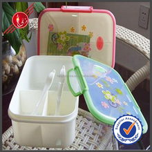 Hot Sale Kithchen Accessories Rectangle 3 Compartments Deep Food Packing Plastic Lunch Box With Spoon