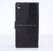 Custom cowboy leather stand card holder wallet case for sony xperia z3
