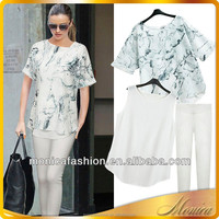 Lady Two-Piece Suit 2014 Summer Fashion Matching Clothing Sets Formal Blouse And Pants