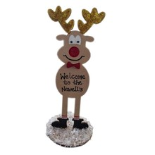 Wooden reindeers Glitter nose Standing on snow covered