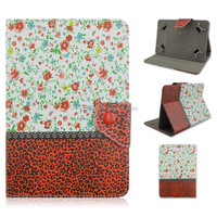 Red Leopard Rose Design Flip Stand PU Leather Cover Case For 7/10 inch Universal Tablet PC