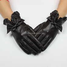 Hebei baoding fashion ladies leather gloves wrist cuff with flowers