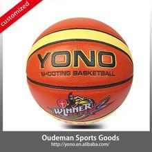 2015 New 12 panels YN-901 Custom basketball rubber colorful laminated PU cheap basketball ball accessories