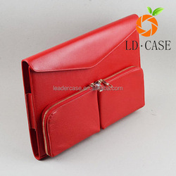 Factory wholesale newest design zip pocket outside genuine leather case sleeve for Macbook Air