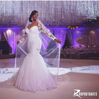 Africa Hot Sale Lace Appliques Customized Made Sweetheart Mermaid Vestidos De Novia HT01 Alibaba Wedding Dress With Lace Sleeves