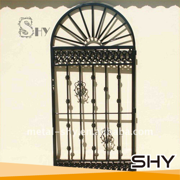 Wrought iron gate grill designs for exterior security door for Exterior window grill design