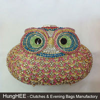 Pink and blue Wedding bridal hollow metal clutch purse owl bags IF-HC374