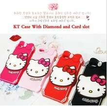 Factroy Wholesale 2015 Newest 3D Cute Cartoon Hello Kitty Soft Rubber Silicone diamond Case Cover For iphone 4 4s iphone4
