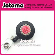 handmade Rhinestones flower 3D Retractable Reel Bling ID Badge Holders