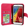 2014 synthetic leather magnetic wallet cases for moto g2 china supplier