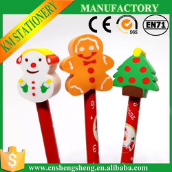 cheap pencil with eraser topper ,Christmas stationery set wholesale