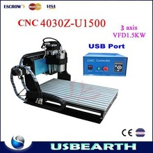 Shipping to UK no tax! CNC 4030Z-U1500W Router Engraving Machine with USB port,cnc router machine for aluminum