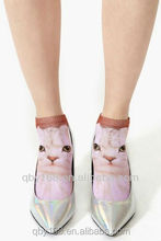 custom design sublimation cat printed knitting ankle socks