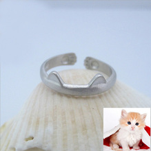 Wholesale new model smooth personality drawing value 925 Silver cute cat shaped ring