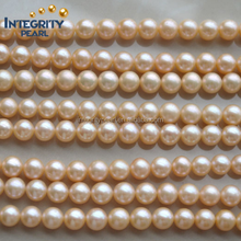 2015 Wholesale price attractive peach white 7.5-8.5mm freshwater full round natural pearl strand