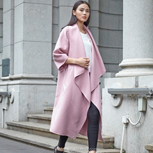 Rosy pink midi winter cashmere coat for woman plus size wool trench coat with big cuffs