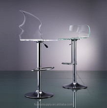 Adjustable swivel clear/ colored acrylic bar stool