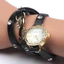 Black environmental leather watch pass EU REACH with top quality and gold plated watch bracelet