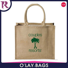 Eco-friendly jute shopping bag popular jute screen printing handbag
