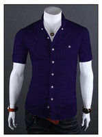 Solid many candy colors choice summer clean and comfortable short sleeve men casual shirt with wholesale freeshipping