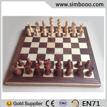 Portable Wooden Chess Piece Strategy Games for 2 Players Backgammon Checkers