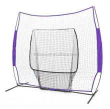 2015 newest 7'*7' fiberglass pole frame softball batting cage net with a big mouth in the middle