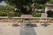 foldable dining set/ Brushed aluminum chair and coffee table/plastic wood folding outdoor dining furniture