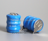 Nicd 3.6V 60mah 14h rechargeable battery with solder taps
