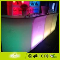 Modular Plastic LED Bar Table with Glass Top