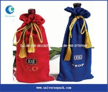 Hot printed wine carrier bag with gold string