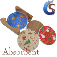 placemat ceramic coaster set with cork and wooden box Christmas design