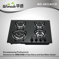 tempered glass black panel enamelled support4 burner cheap gas stove for sale