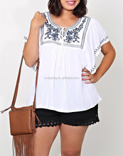 2015 summer Cheap white woven embroider plus size top, t-shirt and tunic with a print for fat women - SYK15358