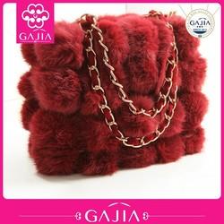 Fine knit handbags fall/winter fashion new real rabbit fur ball