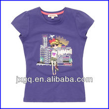 Hot sell wholesale printed custom slim fit 100 cotton kids top fashion girl t shirt