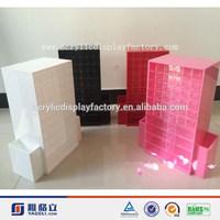 factory acrylic rotating lipstick display stand/ custom acrylic cosmetic pencil display/ PMMA nail polish display box