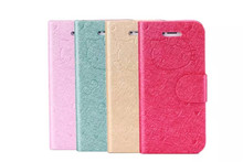 lovely hello kitty cell phone case flip wallet cases for iphone 6 with credit card holer and stander