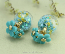 2015 factory sale Double-sided transparent glass ball earrings Flowers sided glass earrings for new season