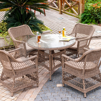 Hongjin Outdoor Wicker Furniture Dining Set/ Rattan Chair and Table Sets