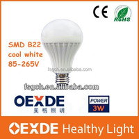 2015 Newest Product Made in China!!!3W B22 SMD 5730 LED Bulbs cool white lamp lights led bulbs